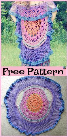 10 Cutest Crochet Circular Vest Free Patterns