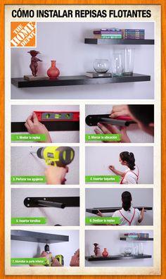 Te compartimos paso a paso cómo instalar repisas flotantes. http://youtu.be/UwBw4xQhy_E