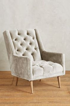Slub Velvet Booker Armchair, Wilcox   Anthropologie.com