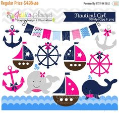 80% OFF - INSTANT DOWNLOAD baby girl sailing clip art whale clipart sail boat nautical vector commercial use for invitations announcem #NauticalBabyShower clip art clipart digital scrapbooking graphic whale sail boat sailboat nautical pink and navy baby girl shower sailor vector 0.99 USD JessicaSawyerDesign
