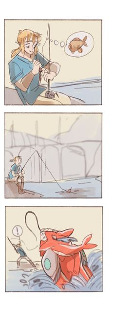 Link's hair in the second panel  also I wish fishing rods were in botw