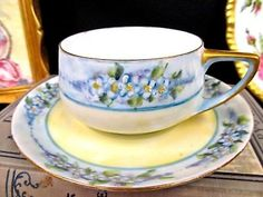 ROSENTHAL tea cup and saucer painted deco floral blue TEACUP pattern