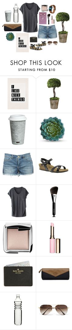 """""""I just want to be comfortable!"""" by ohbuttons ❤ liked on Polyvore featuring Urban Outfitters, Home Decorators Collection, Fitz and Floyd, Dot & Bo, Birkenstock, Chanel, Hourglass Cosmetics, Clarins, Kate Spade and Wild & Wolf"""