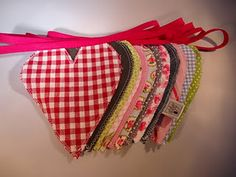 Heart garland/banner made of cotton fabric & jeans