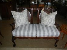 Stunning Edwardian Mahogany Sofa - Excellent Condition upholstered in Hertex Modern Grey Stripe Grey Stripes, Antique Furniture, Accent Chairs, Sofa, Antiques, Modern, Vintage, Home Decor, Upholstered Chairs