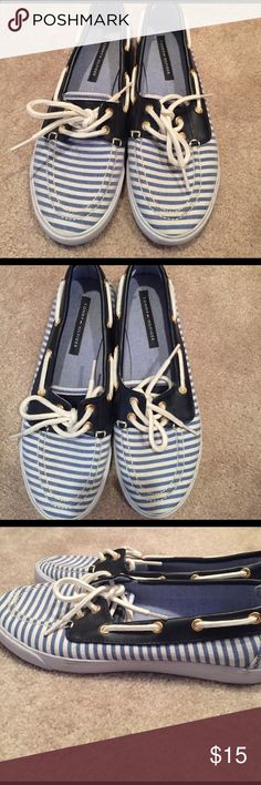 Tommy Hilfinger loafers flats boat shoes Super cute loafers. Great condition. Worn one time. Like new. Canvas with blue and white stripes.  Tommy Hilfiger size 6.5 Tommy Hilfiger Shoes Flats & Loafers