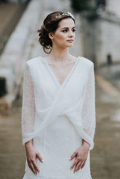 snood mariée pulls pour la mariée, pull en mohair paige, accessoire de mariage pull mariée lyon  Création robe de mariée sur mesure à lyon et accessoire de mariage tricoté