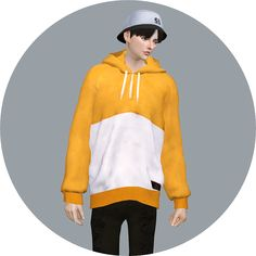 Male Hoodie & Pleats Dress With T-Shirt Male... - Sims4 Marigold