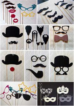 Dress Up Prop Director 5pc Set Movie Red Carpet Clip Board Moustache Glasses Hat
