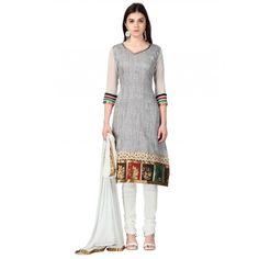 Grey Cotton Festival #Churidar Kameez With Dupatta- $26.56