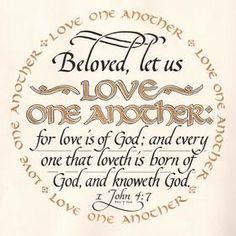 Valentine's Day gift - Hand-lettered Calligraphy - Wedding gift - 1 John 4:7 - Wall Art