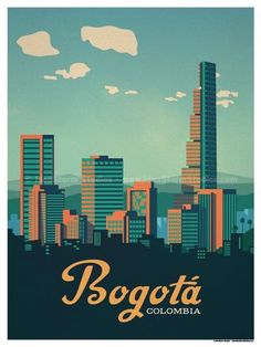 Vintage Poster Image of Bogotá Poster - Size - Size includes a inch white border around the artwork. Digital Print on 80 lb cover matte white Physical poster does. Old Poster, City Poster, Colombia Travel, Cali Colombia, Photo Vintage, Vintage Art, Skyline Art, Kunst Poster, Story Instagram