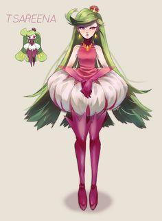 Tsareena - I don't like this Pokémon very much, but this gijinka is good Pokemon Mew, Pokemon Comics, Pokemon Dolls, Gijinka Pokemon, Pokemon Manga, Pokemon Fan Art, Pokemon Cosplay, Fanarts Anime, Anime Characters