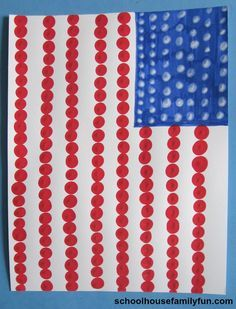 American Flag Finger Painting Craft. A fun art project for 4th of July or Memorial Day.