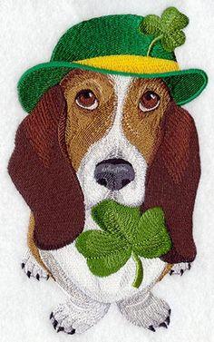 Saint Patrick's Day Basset Hound by StartingStitches on Etsy, $8.75