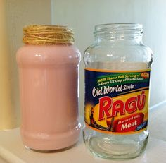The Latest Find's Make It Create - DIY, Tutorials, Recipes, Digital Freebies: Re-using food jars for Spring decor. Snapple Bottle Crafts, Jar Crafts, Home Crafts, Galaxy In A Bottle, Pickle Jars, Paint Brands, Food Jar, Do It Yourself Crafts, Painted Mason Jars