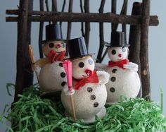 3X Vintage Dapper Spun Cotton & Chenille Snowman Chimney Sweep | Made in Japan | 1950s White Christmas Collectibles