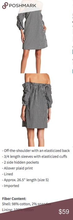 """1.State Plaid Dress Looks great this Spring wearing tending plaid but with a modern twist with this very cute and flattering off the shoulder dress.  I hope you love it and thank you for stopping by my closet!  ** I give 20% discount automatically if you buy 2 or more items in my closet **  - Off-the-shoulder with an elasticized back - 3/4 length sleeves with elasticized cuffs - 2 side hidden pockets - Allover plaid print - Lined - Approx. 26.5"""" length (size S) - Shell: 98% cotton, 2%…"""