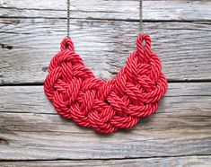 Red Rope Necklace Knot necklace by NasuKka on Etsy, $34.00
