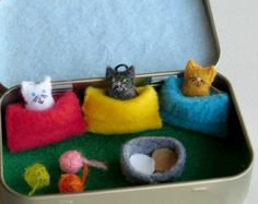 Bunny rabbit garden play set in Altoid tin by wishwithme on Etsy