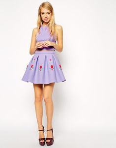 ASOS Premium Bonded Skirt with Embellished Gems