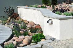 Butik och spa på Ljusterö - Bonander Garden Design AB Balcony Garden, Garden Design, Spa, Outdoors, Wall, Flowers, Florals, Backyard Landscape Design, Landscape Designs