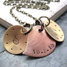 Custom Wedding Anniversary Necklace Brass and Copper Plated. $29.95, via Etsy.