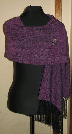 Handwoven Purple and Black Tussah Silk/Tencel by AthenaEcoDesign