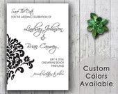Printable Wedding Save The Date PDF - Printable Traditional Wedding, Black White Damask, Classic Wedding Shower (Your Choice in Colors!)