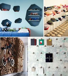 shelving ideas... particularly the blue boys room.