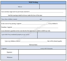 Use The Will Writing Form Template Format For Your Own Without Any Complications In
