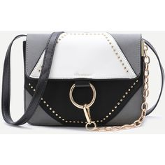 Color Block Studded Chain Detail Shoulder Bag (98 PLN) ❤ liked on Polyvore featuring bags, handbags, shoulder bags, shoulder bag handbag, color block handbags, shoulder hand bags, chain shoulder bag and chain handbags