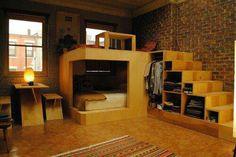 Neat reverse loft bed