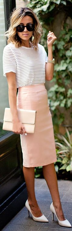 Blush pencil skirt, stripe tee, white heels, nude patent clutch.