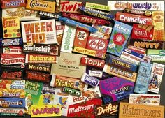 Old chocolate bars from the Gibsons Sweet Memories of the jigsaw puzzle. British Candy, British Sweets, Ravensburger Puzzle, My Childhood Memories, Sweet Memories, 1970s Childhood, Fini Tubes, Bonbons Vintage, 80s Sweets