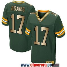 Men s Green Bay Packers  17 Davante Adams Green With Gold Stitched NFL Nike  Elite Jersey 696bef24d