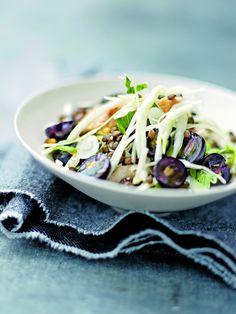 Recette minceur : Salade de poulet, chou blanc, lentilles et raisin noir