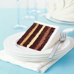 Chocolate cake with caramel, vanilla, and chocolate buttercreams
