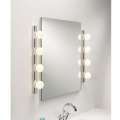 vanity mirrors with built in lights | Currently viewing: Cabaret Polished Chrome Bathroom Mirror Light ...