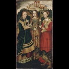 Altarpiece with the Martyrdom of St Catharine: St Barbara, St Ursula, St Margaret [right wing, recto] 1506 Lucas Cranach the Elder