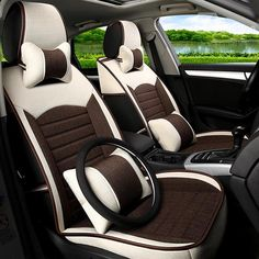 Classic business contrast color design pet universal five car seat cover. Leather Car Seat Covers, Hanging Chair From Ceiling, Car Interior Decor, Car Accessories For Girls, Car Design Sketch, Car Upholstery, Car Covers, Luxury Cars, Contrast Color