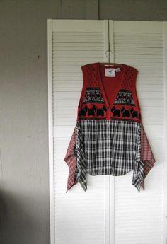 large-XLarge-1X Eco upcycled clothing Lagenlook Tunic scottie dog Wearable Art dress Artsy Funky jumper Casual layering Vest Bohemian Boho