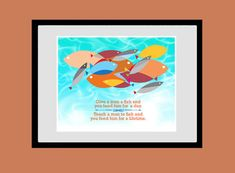 Inspirational quote print, mid century poster, retro wall art, Glclee print. You Can teach A Man To Fish, 8 x 10 Giclee print