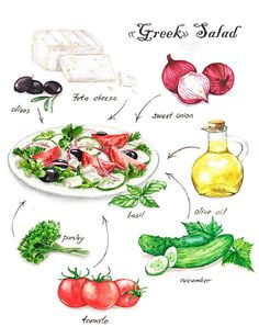 Greek salad Salad Illustrations on Behance Salad Drawing, Food Drawing, Healthy Foods To Eat, Healthy Recipes, Recipe Drawing, Watercolor Food, Food Painting, Food Journal, Kitchen Art