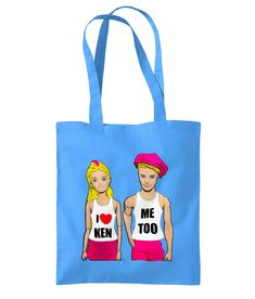 Funny, Gay, LGBT Tote Bag! I Love Ken! Me Too! Cool Gay Gift! Shopping Bag, Blue #PlasticPam #Tote