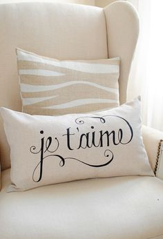Image of Je T'aime 12x20 Pillow Cover in Black