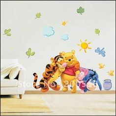 Stunning Wholesale pcs lot cm WINNIE THE POOH MURAL Wall Paper Sticker KIDS baby
