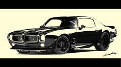 tableau-voiture-americaine-pontiac-firebird-trans-am-455-noir-blanc