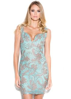 Holt Brie Aqua Blue & Platinum Hand Painted Dress As Seen On Jessica Wright