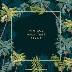 Marco con hojas de palmeras vintage  Vector Gratis